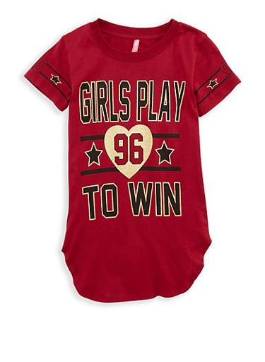 Girls 7-16 Glitter Graphic Tunic T Shirt,WINE,large