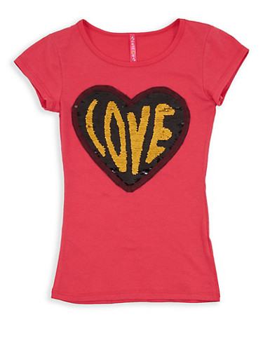 Girls 7-16 Reversible Heart Sequin T Shirt,CORAL,large