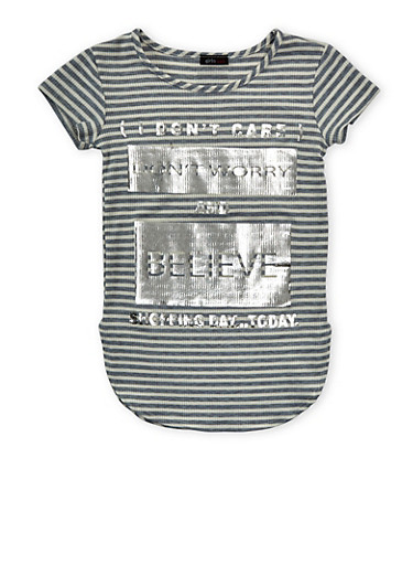 Girls 7-16 Striped T Shirt With Curved Hem And Silver Foil Screen Print,HEATHER,large