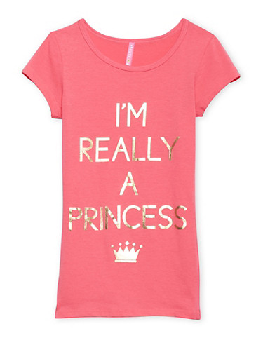 Girls 7-16 T Shirt with Princess Graphic,CORAL,large