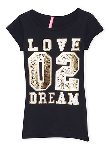 Girls 7-16 Tee with Love 02 Dream Graphic,BLACK,large