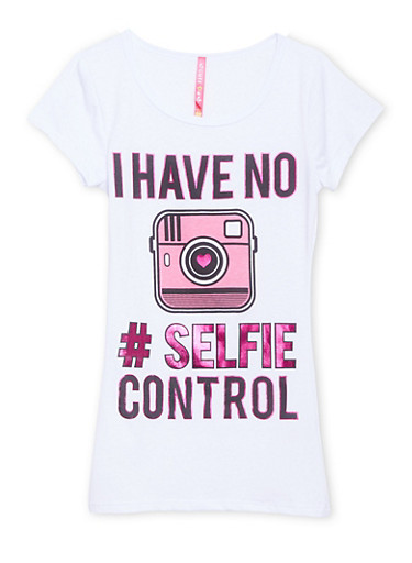 Girls 7-16 Scoop Neck Tee with I Have No Selfie Control Graphic,WHITE,large
