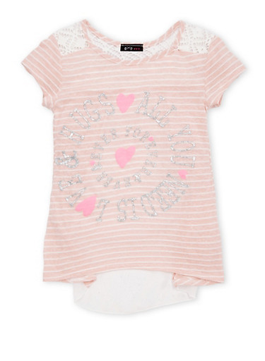 Girls 7-16 Striped Top With Glitter Graphic And Sheer Flyaway Back Panel,PINK/WHITE,large