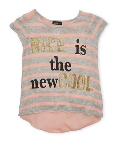 Girls 7-16 Striped Nice is the New Cool Graphic Top with Flyaway Back,BLUSH/HGREY,large