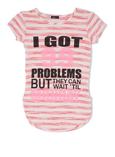 Girls 7-16 Striped Tunic Top with 99 Problems Print,NEON PINK/WHT,large