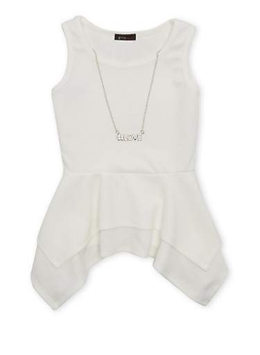 Girls 7-16 Top with Handkerchief Peplum and Detachable #Love Necklace,IVORY,large
