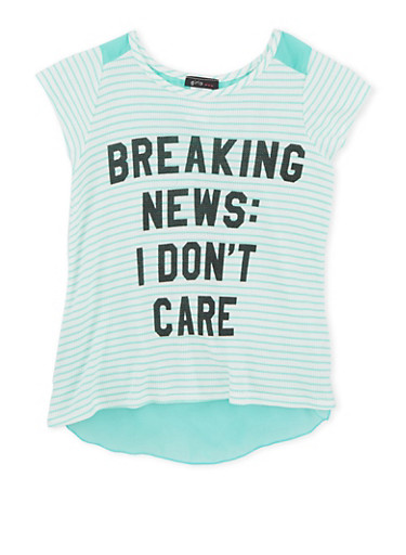 Girls 7-16 Striped Top with Breaking News Screen Print and Tulip Back,IVORY,large