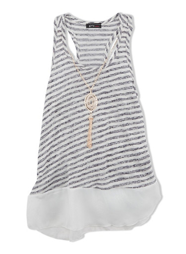Girls 7-16 Striped Racerback Top with Chiffon Hem and Chain Fringe Necklace,NAVY,large