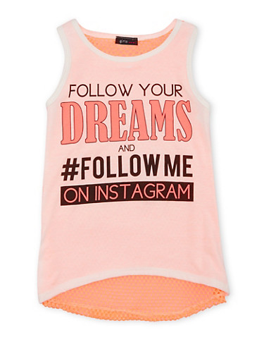 Girls 7-16 Graphic Top with Mesh Back and Follow Me on Instagram Print,IVORY/NCORAL,large