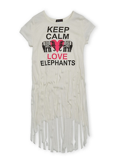 Girls 7-16 Fringe High Low Top With Keep Calm Love Elephants Graphic,IVORY,large