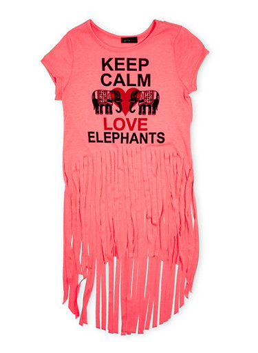 Girls 7-16 Fringe High Low Top With Keep Calm Love Elephants Graphic,NEON PINK,large