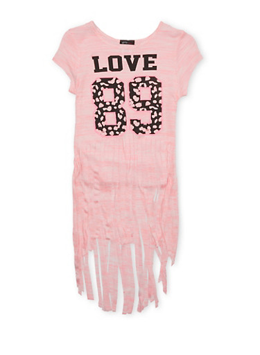 Girls 7-16 Varsity Top with LOVE 89 Graphic and Long Fringe Hem,NEON PINK,large