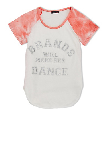 Girls 7-16 Varsity Tee With Brands Will Make Her Dance Glitter Graphic,CORAL,large