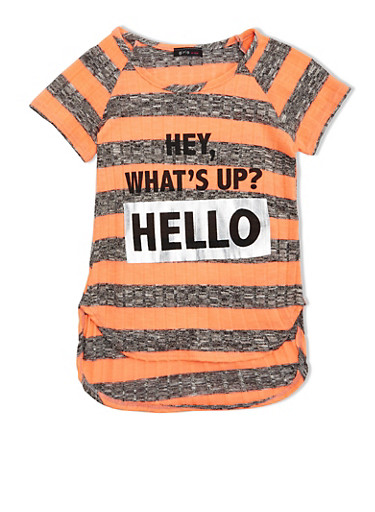 Girls 7-16 Striped Ribbed Tee With High Low Hem And Hello Graphic,CORAL S,large