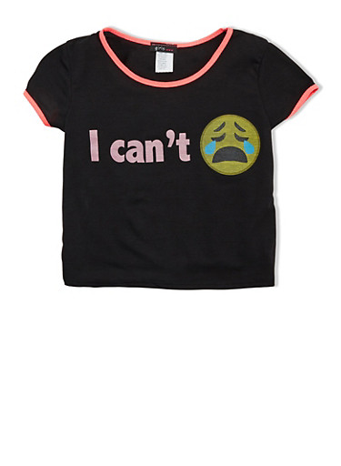 Girls 7-16 I Cant Graphic Tee with Crying Emoji and Short Sleeves,BLACK,large