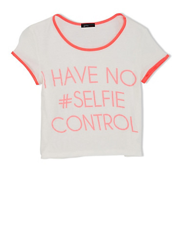 Girls 7-16 Piped Tee With Selfie Screen Print,IVORY,large