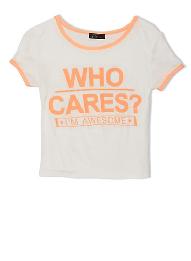 Girls 7-16 Who Cares I'm Awesome Graphic Tee with Contrast Trim,IVORY,large