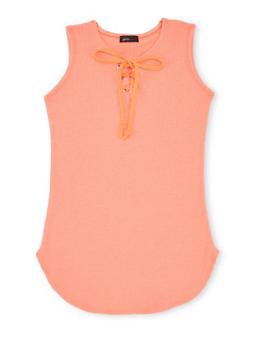 Girls 7-16 Ribbed Tunic Top with Lace Up Neckline,NCORAL,large