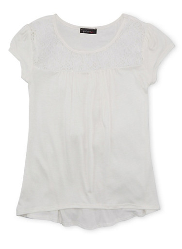 Girls 7-16 Lace Trim Top with High Low Hem,IVORY,large