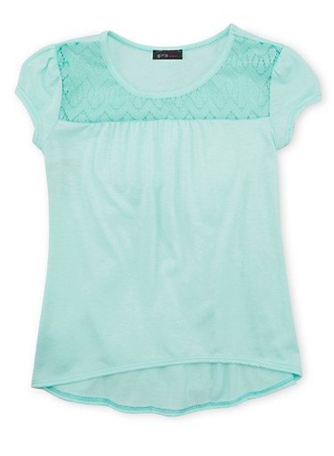 Girls 7-16 Lace Trim Top with Puff Sleeves and High Low Hem,AQUA,large