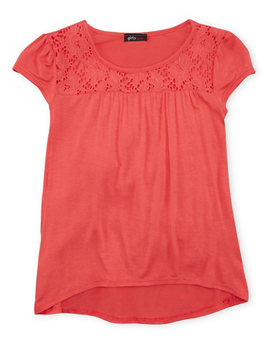 Girls 7-16 Top with Floral Lace Trim and High Low Hem,CORAL,large