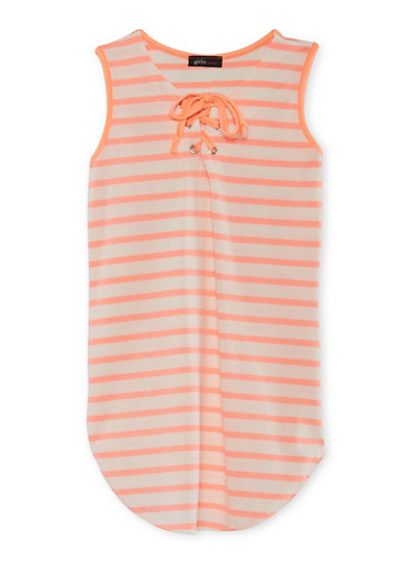 Girls 7-16 Striped Tunic Top with Lace Up Neckline,IVORY,large