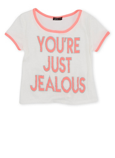 Girls 7-16 T-Shirt with Youre Just Jealous Graphic,IVY/NPNK,large
