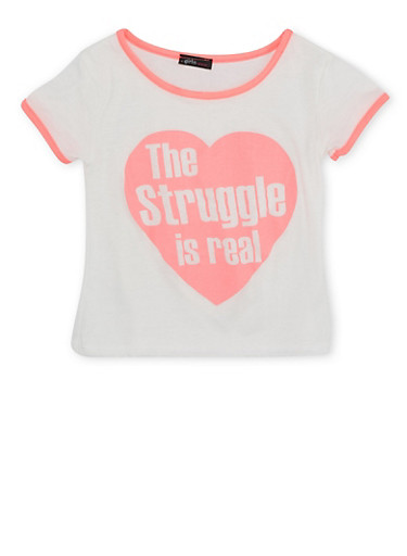 Girls 7-16 T-Shirt with The Struggle is Real Graphic,IVY/NPNK,large