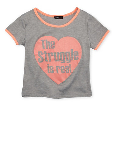 Girls 7-16 T-Shirt with The Struggle is Real Graphic,IVY/NCORL,large