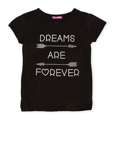Girls 7-16 Top with Dreams are Forever Graphic,BLACK,large