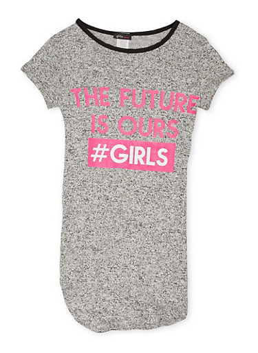 Girls 7-16 Marled Top with The Future is Ours Girls Graphic,HEATHER,large