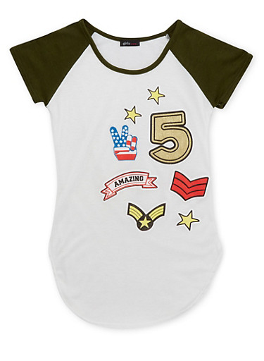 Girls 7-16 Short Sleeve Raglan Top with Assorted Graphics,OLIVE,large
