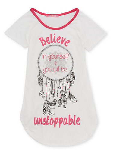 Girls 7-16 Tee with Believe in Yourself Graphic,FUCHSIA,large