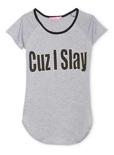 Girls 7-16 Tunic Top with Cuz I Slay Print,HEATHER,large
