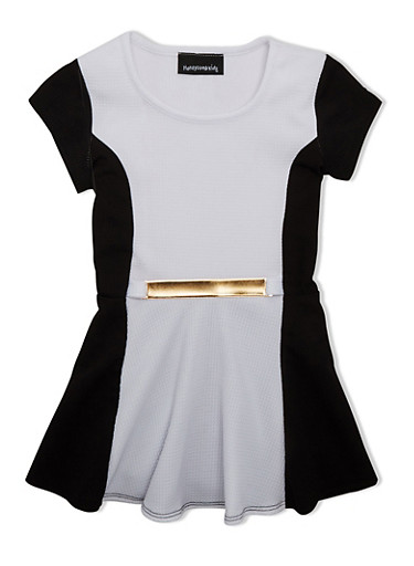 Girls 7-16 Color Block Peplum Top with Metallic Bar Accent,WHITE/BLACK,large