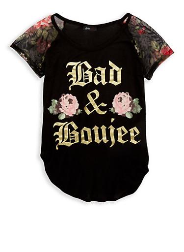 Girls 7-16 Foil Graphic Mesh Sleeve T Shirt,BLACK,large