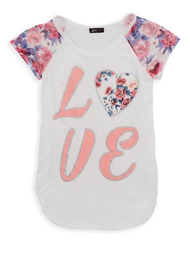 Girls 7-16 Glitter Love Graphic T Shirt,IVORY,large