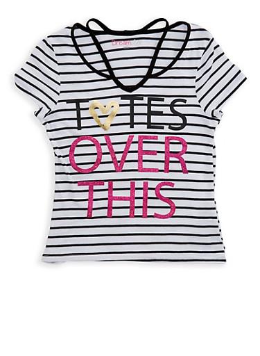 Girls 7-16 Glitter Graphic Striped T Shirt,BLACK/WHITE,large
