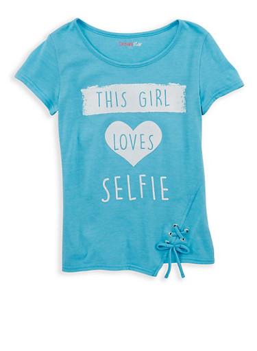 Girls 7-16 Graphic Lace Up Hem T Shirt,HTURQ,large