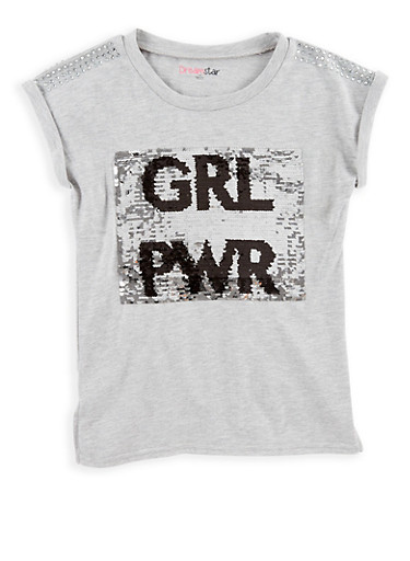 Girls 7-16 Reversible Sequins Graphic T Shirt,HEATHER,large