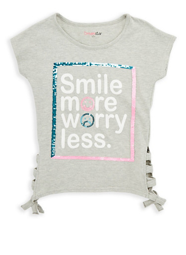 Girls 7-16 Smile More Sequin Graphic T Shirt,HEATHER,large