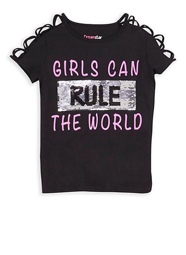 Girls 7-16 Girls Can Reversible Sequin T Shirt,BLACK,large
