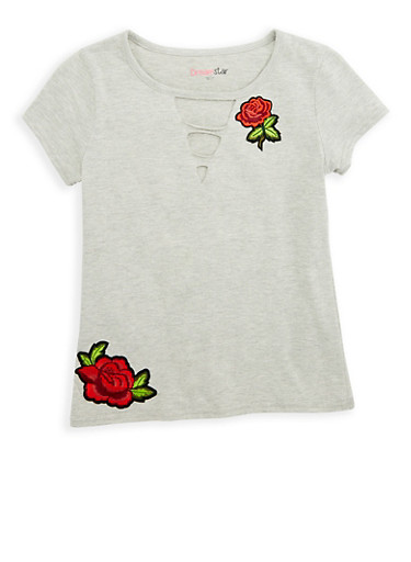 Girls 7-16 Rose Patch Top,HEATHER,large
