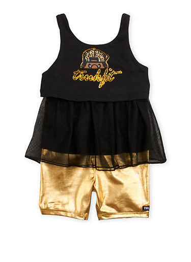Baby Girl Trukfit Glitter and Mesh Tank Top and Foil Bike Shorts,BLACK,large