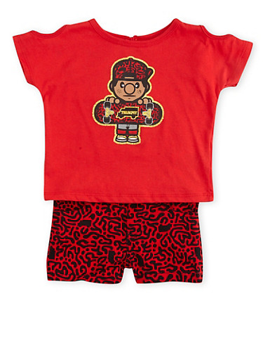 Baby Girl Trukfit T-Shirt and Shorts Set,RED,large