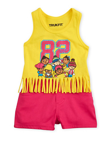 Baby Girl Trukfit Graphic Fringe Tank Top and Shorts Set,YELLOW,large