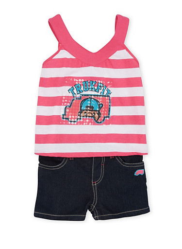 Baby Girl Trukfit Graphic Tank Top and Denim Shorts Set,FUCHSIA,large