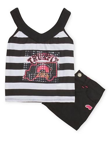 Baby Girl Trukfit Tank Top and Denim Shorts,BLACK,large