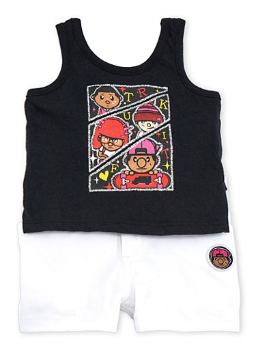 Baby Girl Trukfit Ruffle Graphic Tank Top and Shorts with Glitter,BLACK,large
