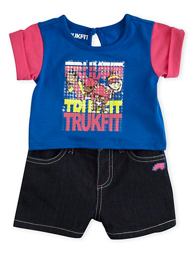 Baby Girl Trukfit Rolled Sleeve Top and Denim Shorts with Sequin Graphic,TURQUOISE,large